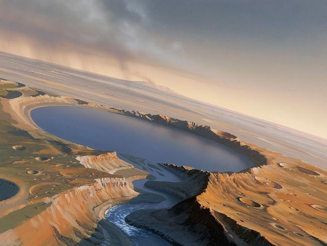 Ученые обнаружили на Марсе озеро с необычным углублением