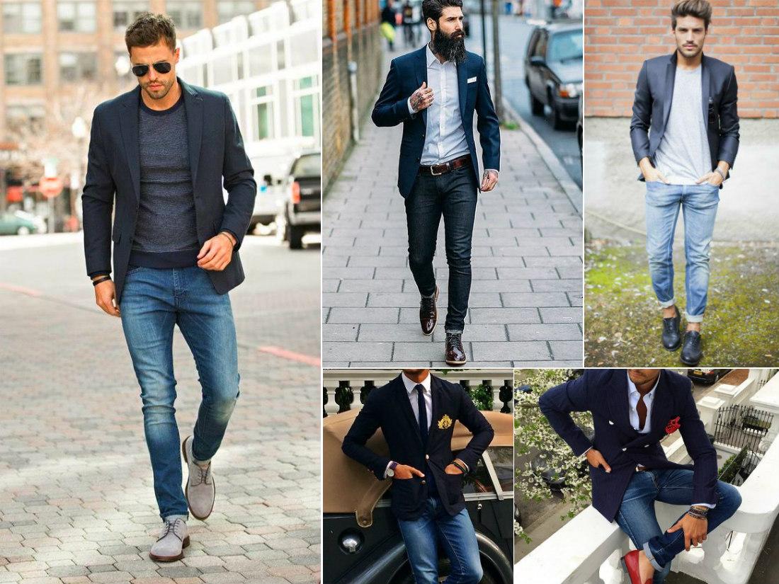 Что носить с пиджаком под джинсы