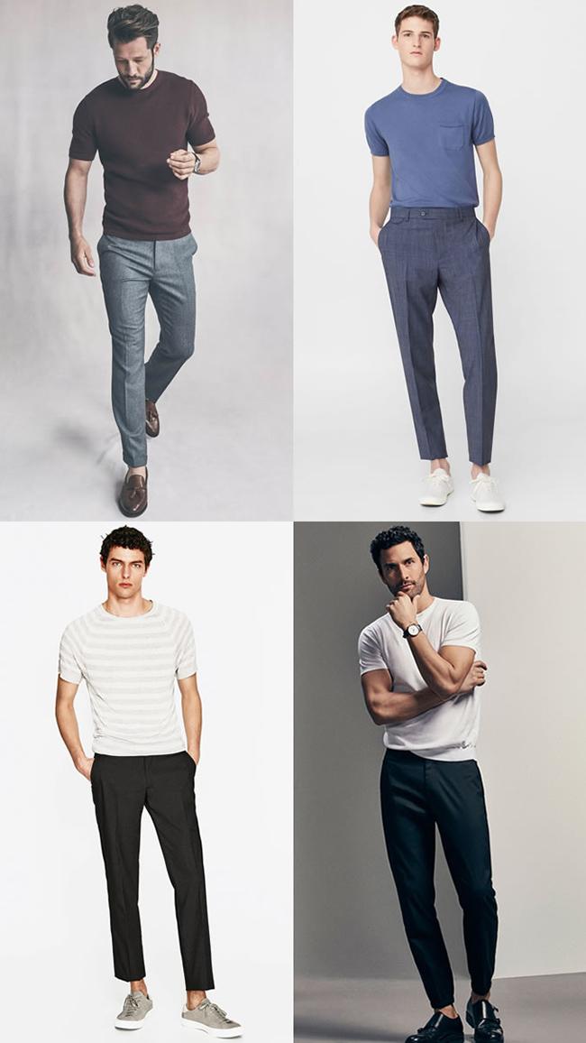 dc277174c939 Неплохой вариант образа – светлая футболка с классическим вырезом и брюки  темного цвета. Дополнить образ можно стильными наручными часами и  солнечными ...